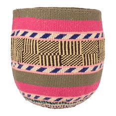 Kenyan Handwoven Basket, Pink and Khaki Stripe