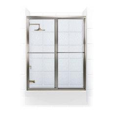 """Newport Framed Sliding Tub Door, Towel Bar, Obscure, Brushed Nickel, 54""""x58"""""""