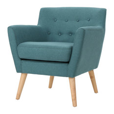 GDFStudio - Madeira Buttoned Mid Century Modern Dark Teal Fabric Club Chair, Dark Teal - Armchairs and Accent Chairs
