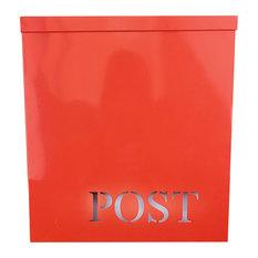 Stanley Laset-Cut Iron Mailbox, Red