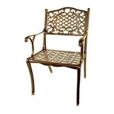 Cast Aluminum Dining Chair in Rustproof Antique Bronze Finish