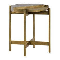 Unique End Table Antique Brass Construction With Concrete Accent Top