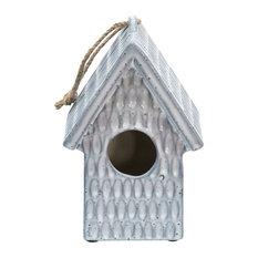 "Sagebrook home 10"" Hammered Decorative Bird House, Ivory"