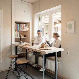 Inspiration för en liten funkis separat matplats, med linoleumgolv och grått golv