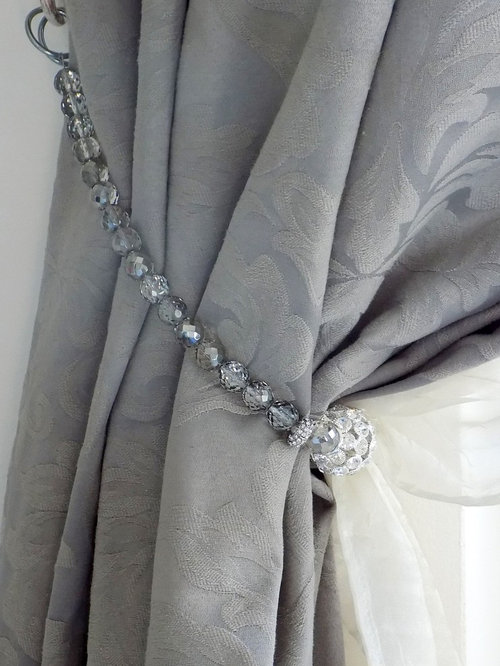 Decorative Rhinestones And Grey Bohemian Crystals Curtain