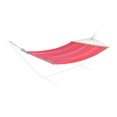 """59""""x78"""" Red  Yellow and Pink Striped Poly Cotton Hammock"""