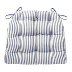 Barnett Home Decor   Ticking Stripe Navy Blue Dining Chair Pads, Standard   Seat  Cushions