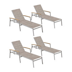 Travira Chaise Lounge, Bellows Sling, Tekwood Natural Armcaps, Set of 4