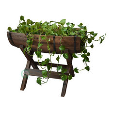 Gardenised - Half Barrel Planter With Stand - Outdoor Pots and Planters