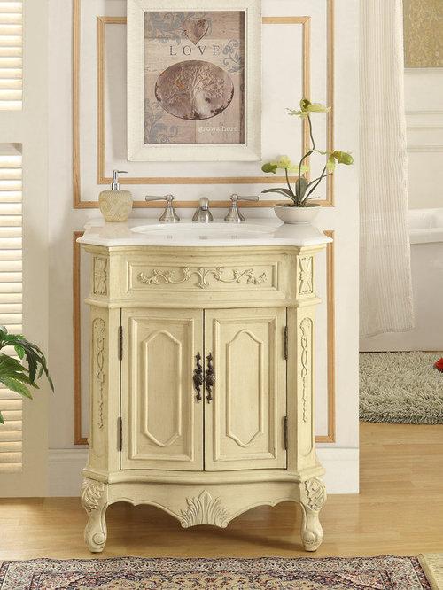 27 Inch Antique White Finish Bathroom Vanity   Bathroom Vanities And Sink  Consoles