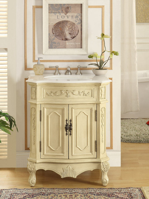 27 Inch Antique White Finish Bathroom Vanity   Bathroom Vanities And Sink  Consoles