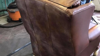 Fine leather recliners with heavy oil staining