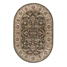 Surya Caesar CAE-1003 Area Rug, Brown/Green, 6'x9' Oval