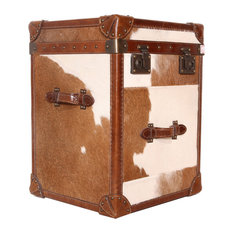 Pasargad Home - Pasargad Paris Club Side Table With Brown And White Cowhide - Side Tables and End Tables