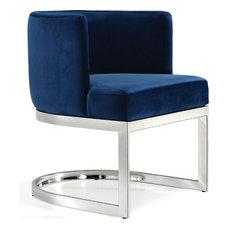 Meridian Furniture - Gianna Velvet Dining Chair, Navy, Chrome Base - Dining Chairs