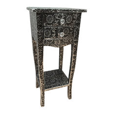 Isabella Bedside Table, Antique Silver and Black