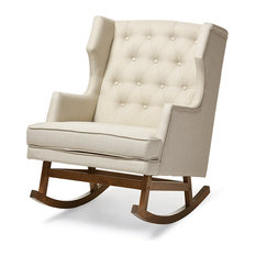 Baxton Studio   Iona Retro Fabric Upholstered Button Tufted Wingback Rocking  Chair, Light Beige