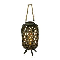 Open Weave Wood Electric Lattice Lantern Lamp