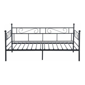 Contemporary Single Day Bed, Solid Metal Frame, 3-Railed Side, Black