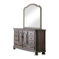 Furniture Of America Leo 2-Piece Wood Dresser And Mirror In Rustic Natural Tone