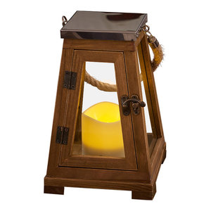 "Newport 9"" LED Candle Lantern, Natural Wood"