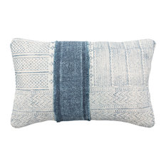 "Lola Lumbar Pillow, Blue and Cream, Down Fill, 22""x14"""