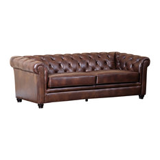 Abbyson Living Foyer Leather Sofa, Brown