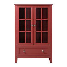 HOMESTAR NORTH AMERICA LLC - Homestar 2 Door/ 1 Drawer Glass Cabinet, Red - Kitchen Cabinetry