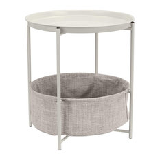 Round Storage End Table, Tray Top With Fabric Bin Underneath, White