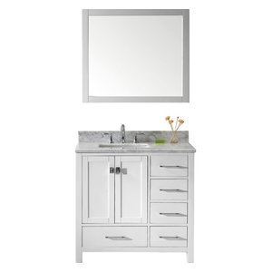"Caroline Avenue 36"" Vanity, White, Marble Top, Square Sink, Mirror"