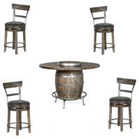 Barrel Pub Table Set with Stools and Lazy Susan