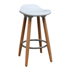ABS Plastic And Wood Backless 26-inch Counter Stool Set Of 2 White