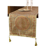 """Banarsi Designs - Exotic Oriental 70""""x16"""" Table Runner, Golden Silver - Discover the Exotic Oriental Table Runner from our exclusive Banarsi Designs Collection. This gorgeous table runner offers a stylish Indian design that brings beauty and inspiration to any table top!"""