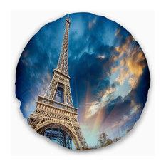 "Beautiful View of Paris Paris Eiffel Towerunder Fiery Sky Pillow, 20"" Round"