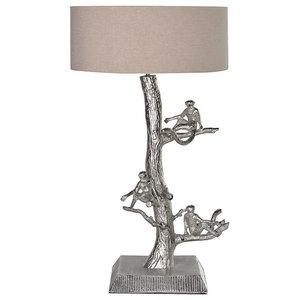 Three Monkeys Table Lamp with Ivory Shade