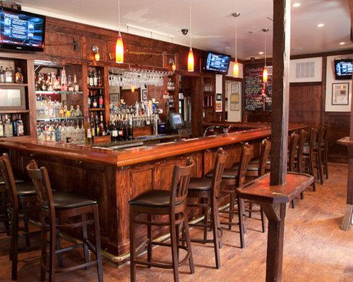 Yardley, PA   Traditional   Mahogany Wood Bar Top With Chicago Bar Rail    Indoor