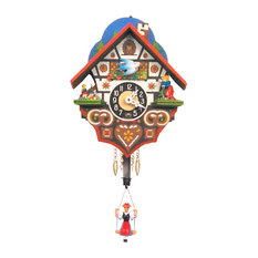Engstler Key Wound Clock, White Forest House, Mini Size