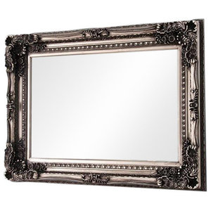 Vienna Rectangular Wall Mirror With Floral Silver Frame, 210x150 cm