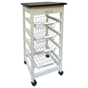 Chef Vida Wooden Kitchen Trolley, White, 4 Tiers