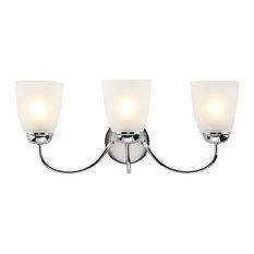 Nairi Transitional Chrome Bathroom Vanity Light, 3 Lights
