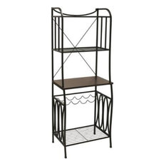 Bakers Rack With Black Steel, Mahogany Wood Finish Top, 4-Shelves With Wine Rack
