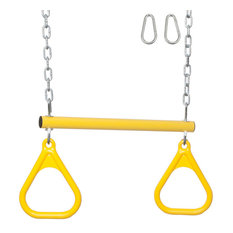 Swing Set Trapeze Bar With Rings and Uncoated Chain, Yellow