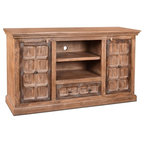 Large Hand Carved Reclaimed Wood Bookcase TV Stand Media Cabinet