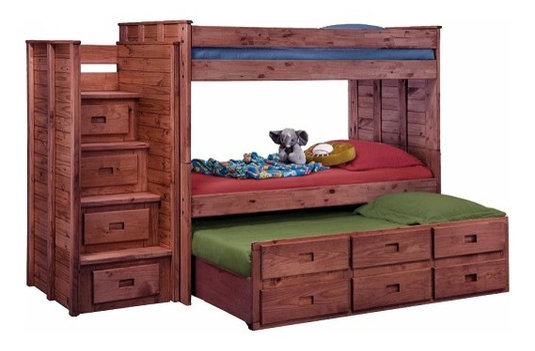 Raven Hill Twin Over Twin Combo Stairway Bunk Bed