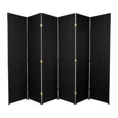 6' Tall Woven Fiber Room Divider, 6 Panel, Black