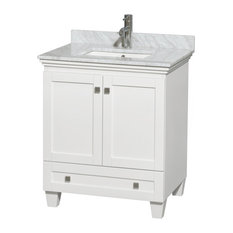"Acclaim 30"" Single Vanity, White, Carrera Marble Top, Undermount Square Sink"