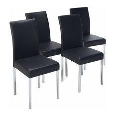 Vestavia Dining Parsons Chairs, Black Vinyl & Chrome Metal Legs