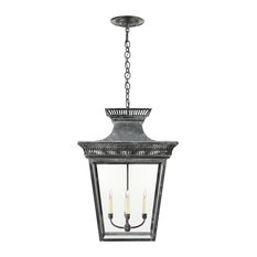 Elsinore Extra-Large Hanging Lantern, Weathered Zinc