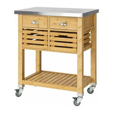 Serving Trolley Cart, Bamboo Wood With Stainless Steel Top, 2 Slatted Baskets