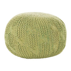 GDF Studio Dahlia Indoor/Outdoor Aqua Fabric Hand Knit Pouf, Lime
